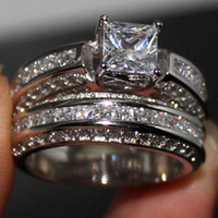 Wholesale Diamond Wedding Rings For Couples - Fancy Lady's 925 Sterling Silver Princess-cut Simulated Diamond CZ Paved Stone 2 Wedding Band Ring Sets Jewelry for Women