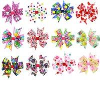 Wholesale Mixed Grosgrain Ribbon Printed - Fashion 28 Pcs Lot Girls Hair Clip Kids Grosgrain Ribbon Bows Hair Clip S Hair Accessories HairPin28 Print Hc068