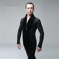 New Men Party Ballroom Latin Tango Salsa Modern Waltz Standard Competition Practice Dance Shirt Top Nero Sexy V Collare T-shirt in velluto T001