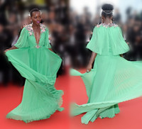 Wholesale Cannes Film Festival Red Carpet - Distinctive Cannes 2015 Lupita Nyongo Celebrity Red Carpet Dresses Flowers Plunging V Neck Half Sleeves A-Line Chiffon Formal Gowns