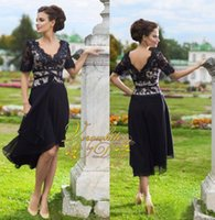 Wholesale Laciness Ribbon - Vintage Column Hi-Lo Mother's Dresses 2015 Laciness V-Neck Black Chiffon Beads 1 2 Sleeves Appliques Open Back Formal Evening Gowns Custom