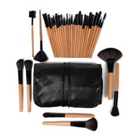 Wholesale Lighted Professional Make Up Case - Professional 32 pcs 32pcs cosmetic make up makeup brushes set kits nylon fiber brush + wood handle + leather case
