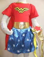Wholesale Superwoman Costumes Women - Girls Wonder Woman Costume Dress Halloween Costume For Kids Role-Playing Superwoman Party Cosplay Costume Short Sleeve Skirts