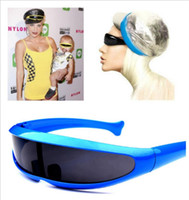 Wholesale laser glass lens - Cool men's sunglasses fashion X-men Individuality Laser Outer Space Robot Conjoined Mercury Lens Sun Glasses For Outdoor Sports YYA891
