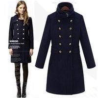 wool trench coat women s оптовых-Мода Средней Длины Шерстяные Смеси Пальто Abrigos Mujer Женщины Верхняя Одежда Двубортный Тренч Casacos Femininos