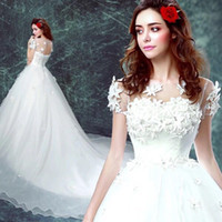 Wholesale Organza Wedding Gloves - 2016 Latest Flowers Bateau Full lace Hollow Court Train Short Sleeves wedding dress bridal dress with free veils gloves petticoats