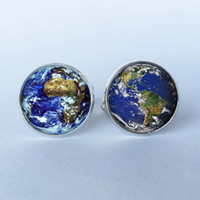 Wholesale World Map High Quality - 1 pair Free Shipping Men Cufflinks High Quality World Earth cufflinks World Map Cuff Link Ladies Silver Cufflinks 7