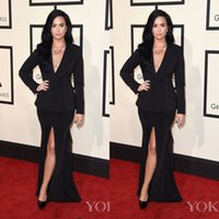 Wholesale Demi Lovato Red Carpet Dresses - Demi Lovato The 58th Grammy Awards Black Celebrity Dresses V Neck Split Evening Dresses 2016 Long Sleeves Formal Party Gowns