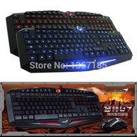 Atacado-Novo Genius Original G9 LED retroiluminado USB Wired PC Gaming Keyboard and Mouse Suit Combo Set Preto