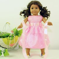 Wholesale Pink Doll Clothes - Free Shipping New Arrival Party Gifts For Children Girls Dolls Clothes Accessories Fashion Pink Dress For 18'' American Girl Dolls Dress