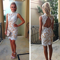 Hot selling Vintage Lace Cocktail Dresses High Collar White Lace Champagne Lining Short Party Backless Appliques Gowns Summer Fall Custom Made
