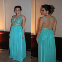Wholesale See Through Laced Dress - Long Mint Lace Beading Prom Dresses Formal Evening Gown Party Dress Back See Through Taffeta Appliques Court Train For Women Custom Made