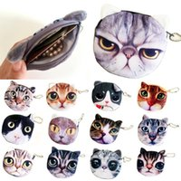 Wholesale Wholesale Kids Makeup - Cute Cat Face Coin Purses Zipper Wallet For Children Kids Girls Fashion New Makeup Mini Bag Pouch