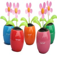 Wholesale Solar Power Flower Pot - Flip Flap Solar Power Dancing Flower Decor Apple Pot Plant Sunflower for Car Interior Decoration accessories auto Ornaments