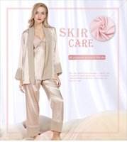 Wholesale Ladies Three Piece Pajamas - 2017 YaoTing Spring New silk women pajamas set Long-sleeve & long-pants lady sleepwear three-piece suit Sexy V-neck family pajamas