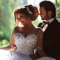 Ball Gown Wedding Dress online - Sparkly See Through Crystal Wedding Dress 2015 Ball Gown Pearls Beaded Tulle Long Sleeve Sexy Bridal Dresses Court Train Noiva Vestido W4216