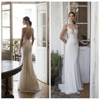 Wholesale Beautiful Bohemian Gown - 2016 New Beautiful Vadim Margolin Bohemian Chiffon Wedding Dresses Lace Spaghetti Straps Open Back Garden Boho Bridal Gowns