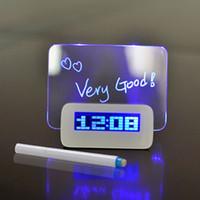 retroiluminação led lcd venda por atacado-Moda Azul Backlight LED Fluorescente Despertador Digital Message Board USB Hub 4 Portas LCD Digital Vertical Message Board