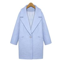 Wholesale Women S Single Breasted Coat - Newest 2015 Women Slim Medium Long Turn Down Collar Trench Single Breasted Blue Pink Thick Autumn Winter Wool Coat