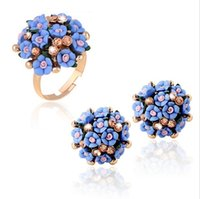 Wholesale Gold Knuckle Ring Set - Elegant Ceramic Rose FLowe Crystal Ball finger joint rings jewelry Opening Ring Knuckle Ring Vintage Fingernails Band Ring Women Accessories