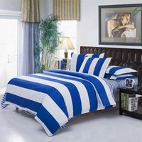 Wholesale Comforter King Set Simple - Wholesale-Modern Simple White Blue Stripe Bedding Sets Bedding Comforter Sets Duvet Covers, King Queen Full Size Bedspread Bedclothes