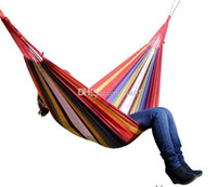 Wholesale Fashion Hot One Person Family Camping Camp One Person Canvas Outdoor Leisure Fabric Stripes Hammock