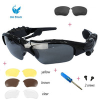 Wholesale Lens For Headset - 2016 2 Top Fashion Wireless Music Sunglasses with Stereo Hands free Bluetooth 4.1 Headset Headphone free Replaceable Lens for Many Phones