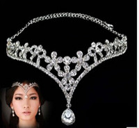 Wholesale Headpiece Jewelry Chain - Fashion Silver Rhinestone Head Chain Headpiece Wedding Bridal Tiaras Jewelry for Wedding Hair Bands Hair Accessories