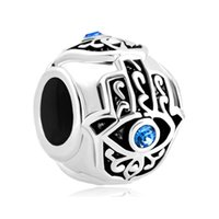 Wholesale Silver Hamsa Evil Eye Charm - 10pcs per lot Filigree Islamic Hand of Hamsa Fatima Aquamarine Evil Eye Bead Head Charms Fits for Pandora Bracelets