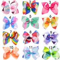 Wholesale Hair Dressing Kits - 12 Colors Rainbow JoJo Bows for Girls Mix Colors Hair bows for Children 2017 Trendy Kids Hair Accessories Birthday Party Dressing Up DIY kit