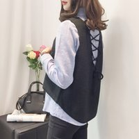 Wholesale Two Color Vest - Women Autumn Blouses V Neck Two-Piece Top Vest and Shirt Student style Yellow Black Blue and Green colors
