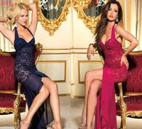 Wholesale Sexy Lingerie Dress Blue - w1025 sexy lingerie blue red lace evening halter long women clubwear dress
