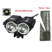 Wholesale Cycle Light Led Cree 2x - 5000 Lumens 2x CREE XML U2 LED Cycling Bike Lamp Bicycle Light Headlamp HeadLight Accessories+Retail Box