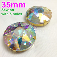 Wholesale Round Crystal Sew Stones - Sew on 35mm 6Pcs Pack Crystal Clear AB Color Baoshihua Round Crystal Fancy Stone with 4 Holes Metal Claw Setting