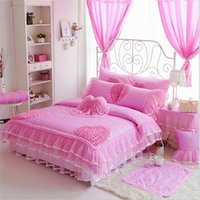 Wholesale Romantic Bedding Sets - Luxury Cotton bedding sets Polka Dot Lace Kids Crib bedding Duvet cover set Romantic Princess bedskirt bedding