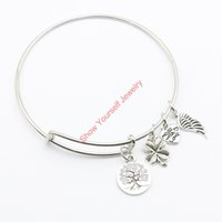 spring tree craft - Tree of Life Bangles Clover Angel Wings Stainless Adjustable Silver Bangles Bracelet Jewelry Making DIY Craft B008