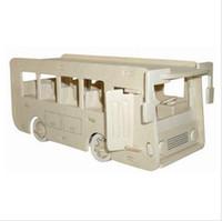Wholesale 3d Bus Puzzle - Wholesale-Scale Wood Assembling Model Toy Diy Miniature 3D Jigsaw Puzzle Single Decker Bus