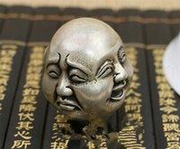 estilo de tallas de metal al por mayor-Estatuilla de Buda de 3 estilos Escultura Talla! Estatuilla de Buda feliz tallada Tíbet chino