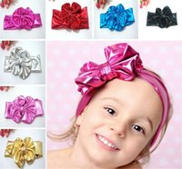 Wholesale Baby Headhands - 7 Color Baby Girls Lovely Big Bow Hair Band Infant Kids Children Cute Bunny Hare Rabbit Ear Headwrap Elastic Metallic Lustre Headhands I4253