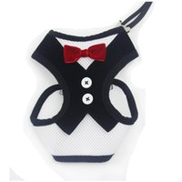 Wholesale Large Dog Bowtie - Free Shipping! Wholesale Pet accessories MOQ 12pcs Air Mesh Soft Dog Party Harness with Bowtie 2 Colors Available