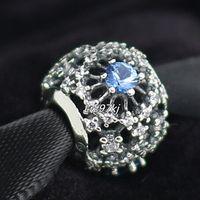 Wholesale Cz Blue Pendant - 2015 100% 925 Sterling Silver Openwork Snowflake with Cz Fits European Pandora Jewelry Bracelets Necklaces & Pendants