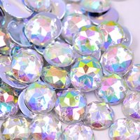 Wholesale Sew Clear Acrylic Rhinestones - Wholesale-12mm Sew On Crystal Clear AB Rhinestone Round Acrylic Flatback Gems Strass Crystal Stones For Crafts Dress Decorations