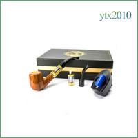 pipas para fumar al por mayor-e pipe 618 salud fumar cigarrillo electrónico 2.5ml tanque e pipe vaporizador transparente 18350 batería diseño de madera reutilizable e cigarrillo