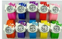 Wholesale Slap Watch Kitty - Free shipping by DHL! 100pcs lot ! Fashion Cartoon Snap Watch Hello Kitty Kids Slap Wristwatch G2090 on Sale Wholesale