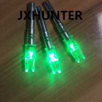 Wholesale arrow archery - 3PK Archery hunting compound bow carbon arrow tails lighted led light arrow nock for ID 6.2mm arrows green color
