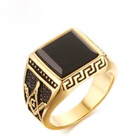 Moda Design Mens Ring Free Mason Black Agate Gemstone Rings High Poolished Jóias de aço inoxidável para homens US Size 8-11