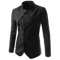 Wholesale Chinese Men Blazer - Wholesale-Chinese Style Mandarin Collar Men Solid Suit Jacket Best-selling Men Clothing Suit Blazer 3 Color PSX308