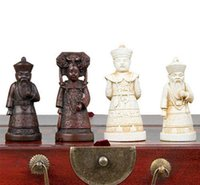 Wholesale Chinese Chess Wood - Chinese wood Leather box with 32 Warrior Chess Set Free shipping