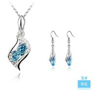 Wholesale Gemstone Bridal Jewelry Necklace Sets - Top grade Crystal Jewelry Sets for sale Bridal Wedding Rhinestones Gemstone Sea Heart Necklaces Earrings jewelry wholesale - 0007LD