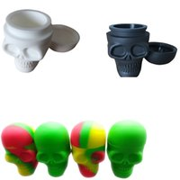 Wholesale 15ml Jar - 15ml Skull Jar Non-stick Silicone Dab Wax Oil Concentrate Container Jar Vial Screw Top 1pcs lot